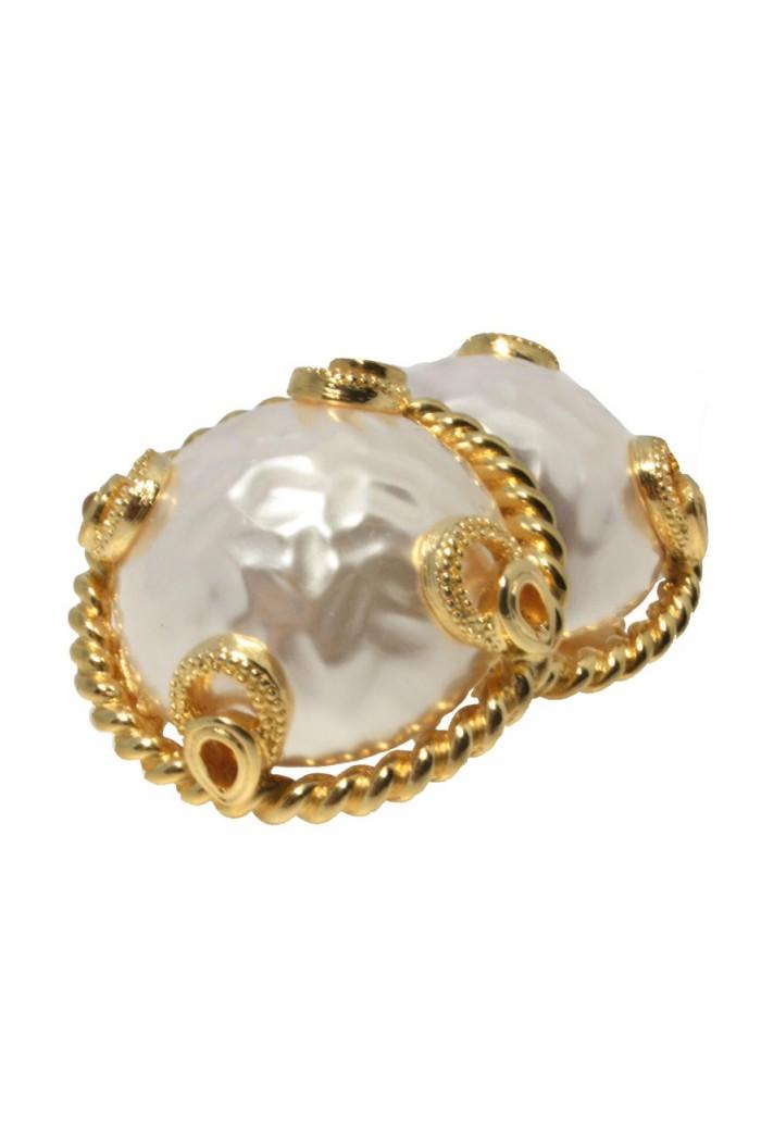 Vintage Large Pearl Earrings 1980s Gold Clip On Earrings
