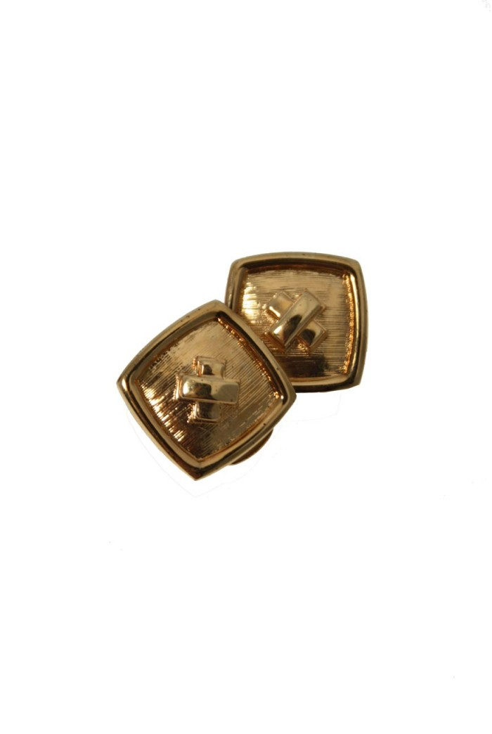 Gold Square Clip On Earrings