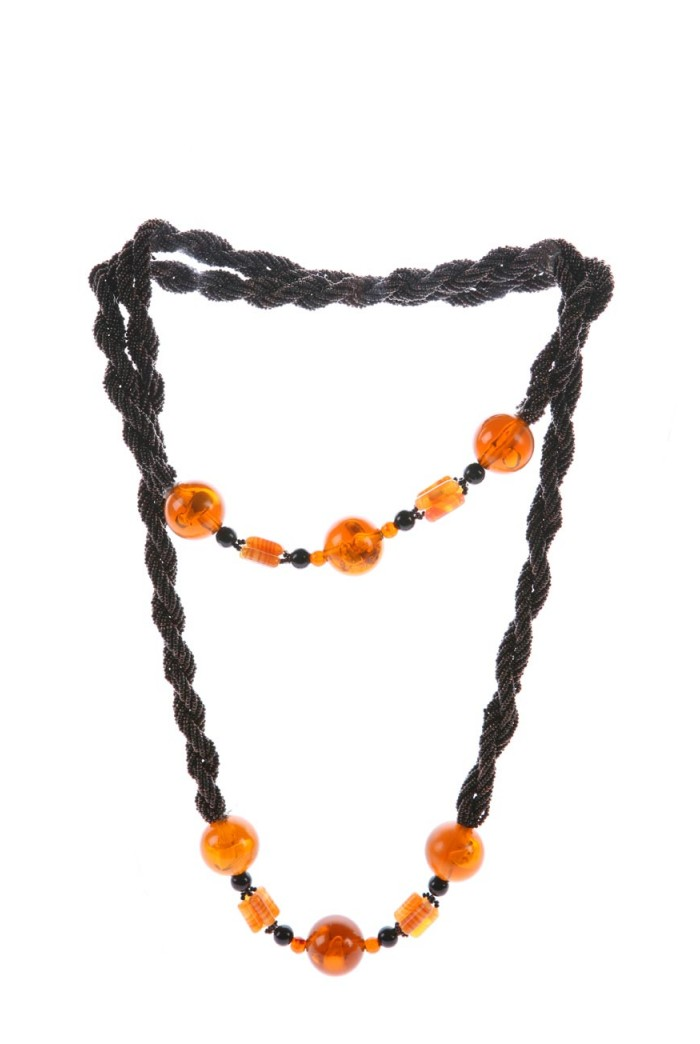 Vintage 1970s Beaded Rope Necklace