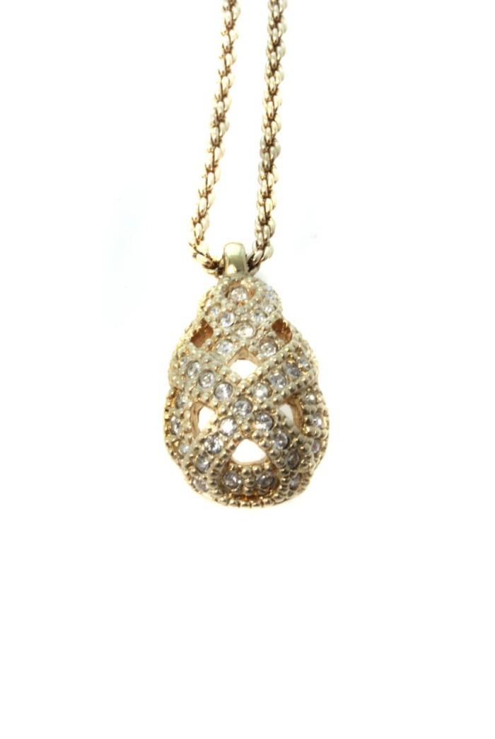 Vintage Christian Dior Diamante Pendant Necklace