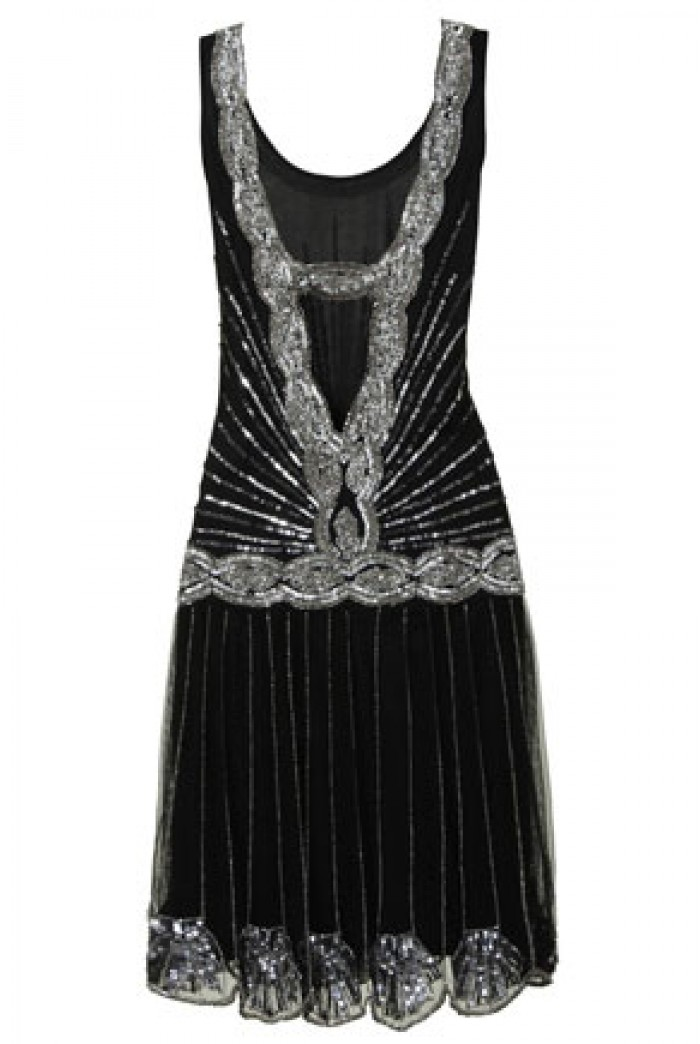 Frock And Frill Zelda Flapper Dress Black Sequined 1920s