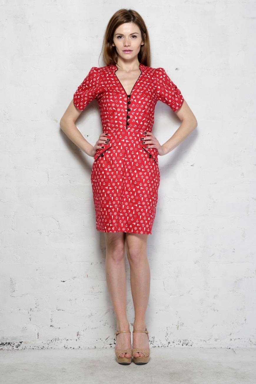 Red Tea Dress Nautical Print Dress 1940s Style Dresses