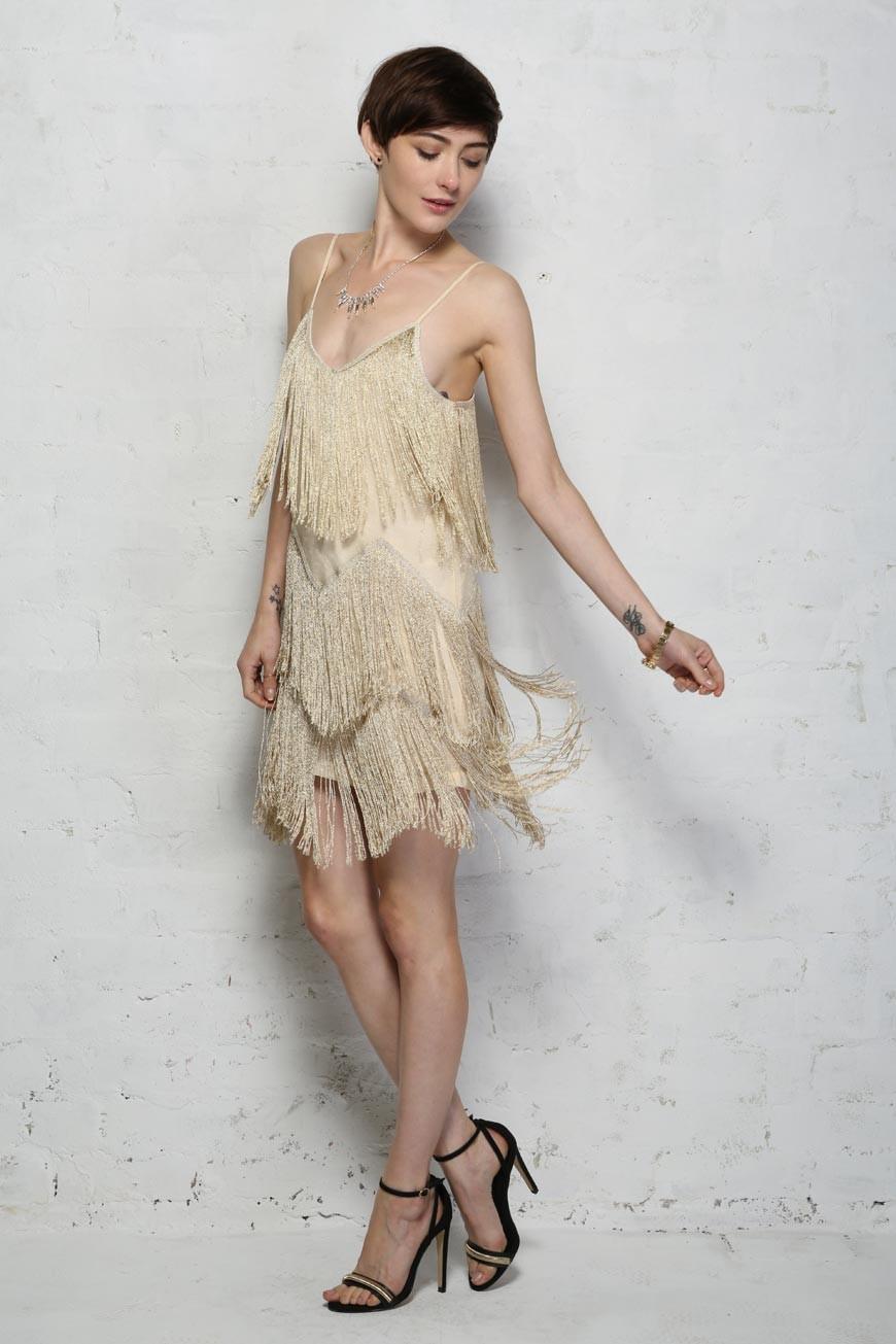 Gold Fringe Dress Shimmy