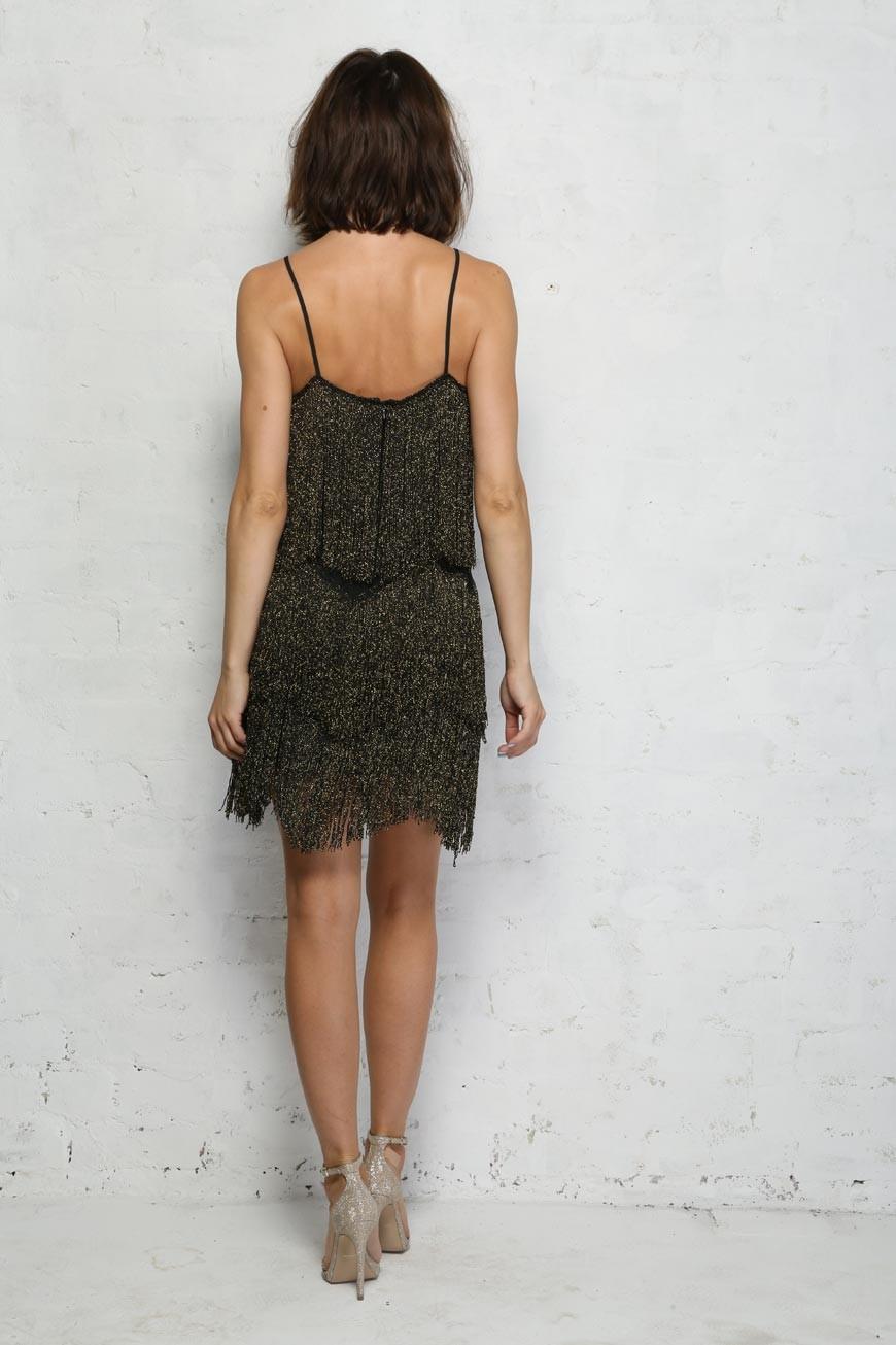 black fringe flapper dress tassel dress 1920s
