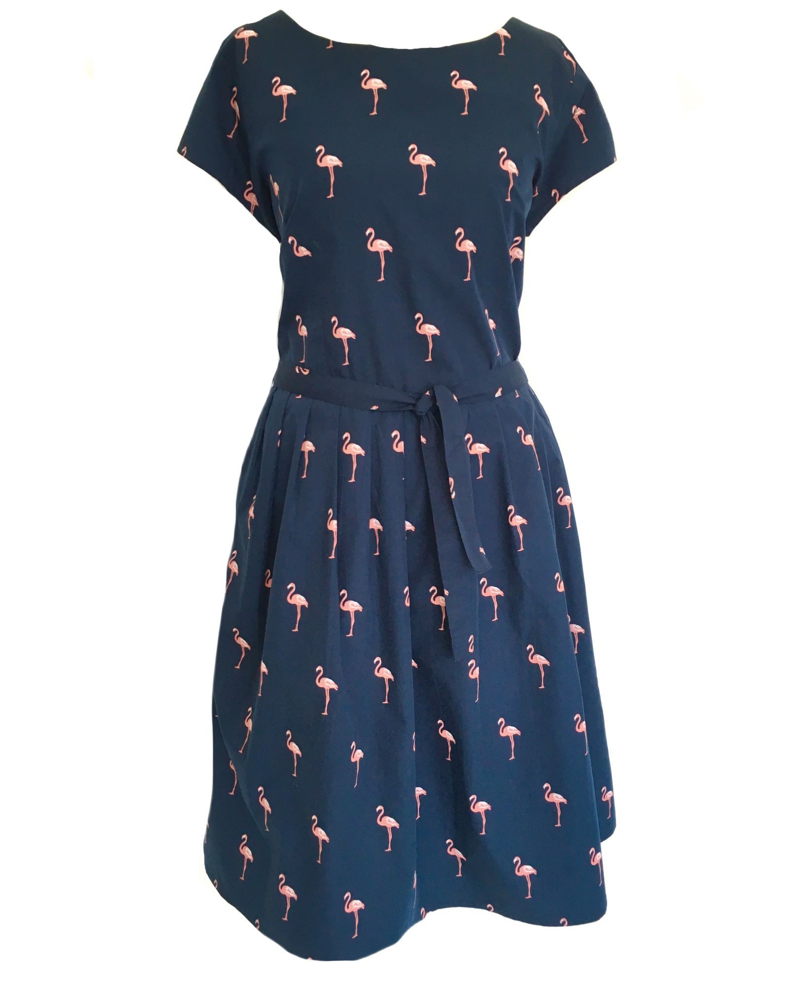 Navy Flamingo Print Prom Dress