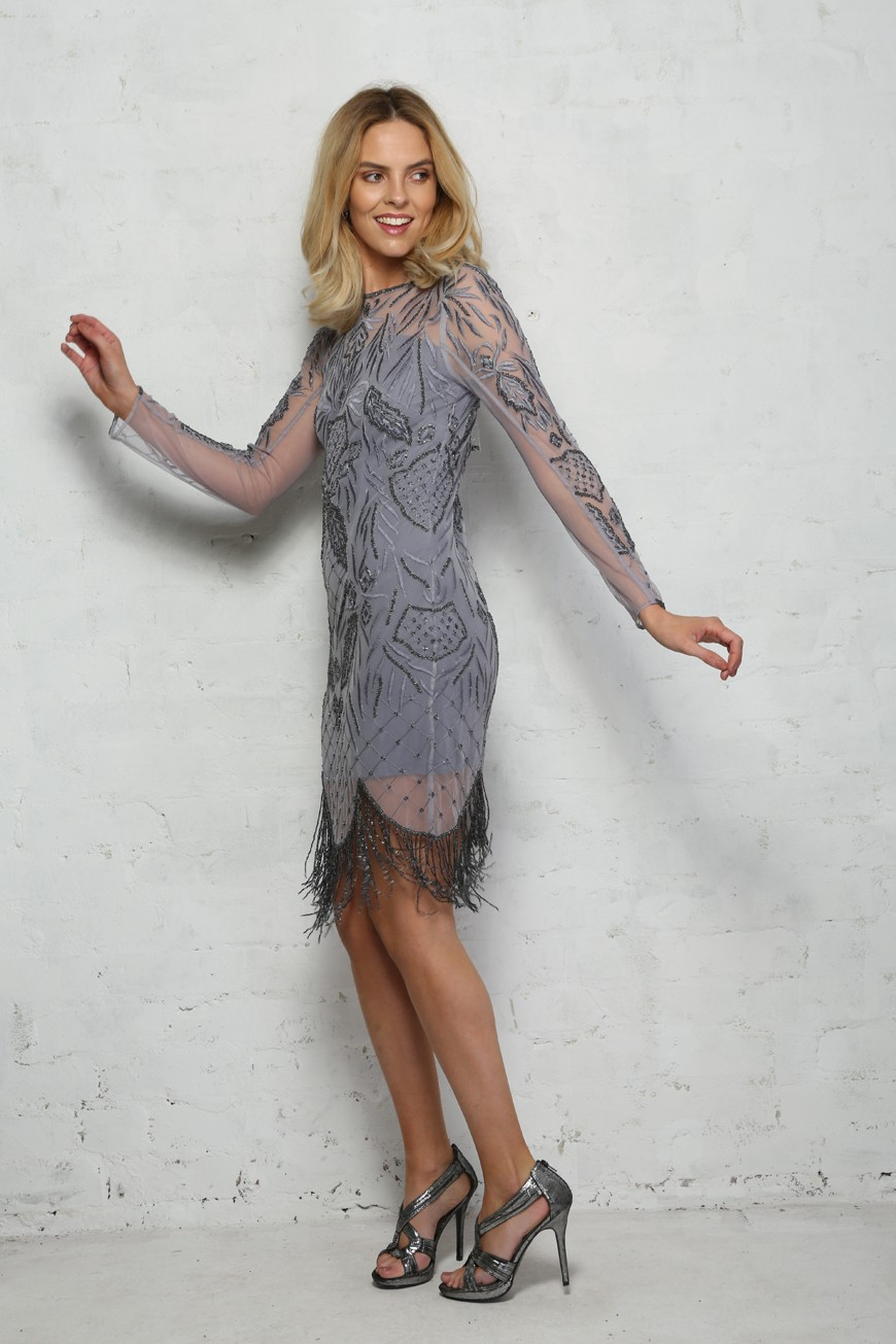Grey Tassel Dress - Long Sleeved Cocktail Dress
