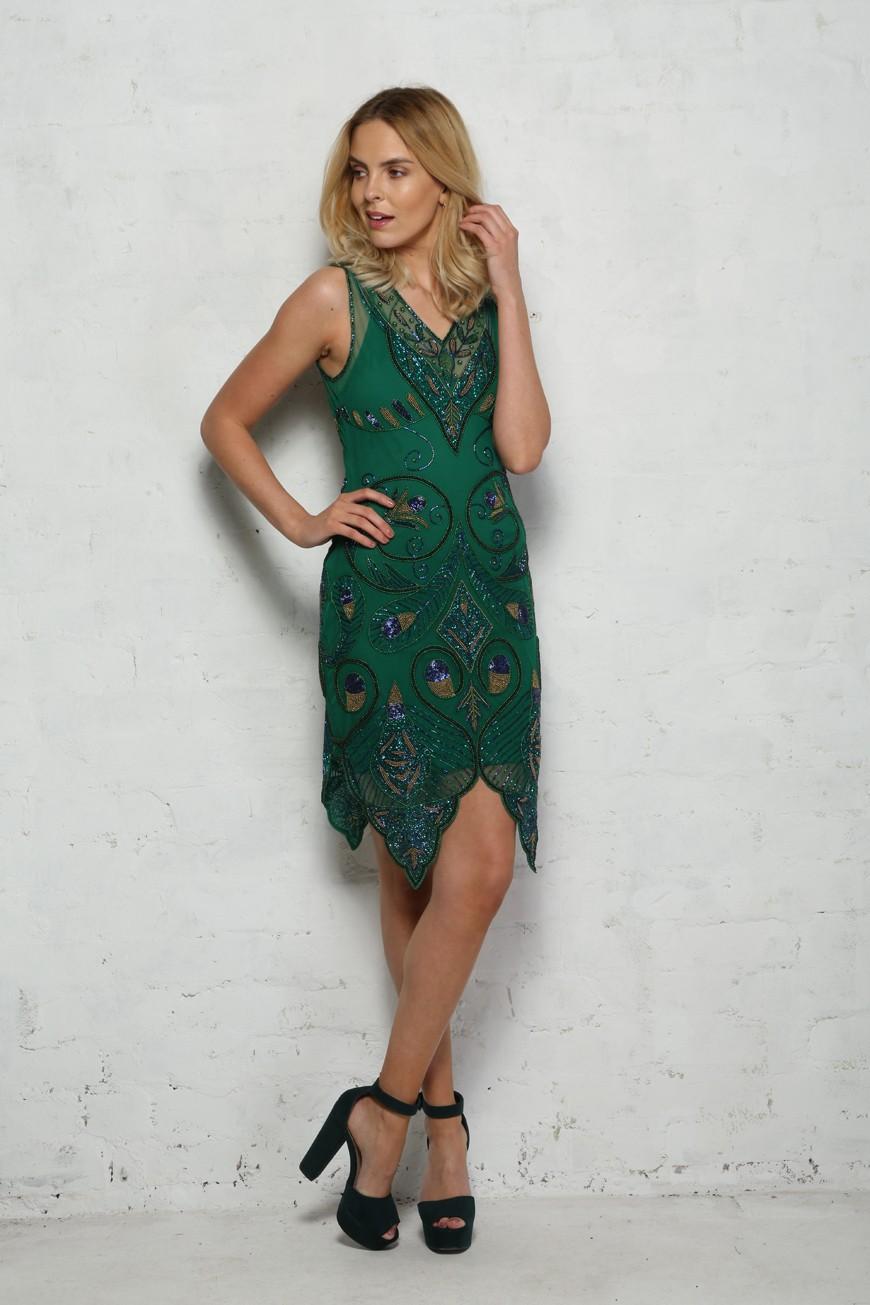 48035e0b80a Peacock Flapper Dress - Green Beaded Dress