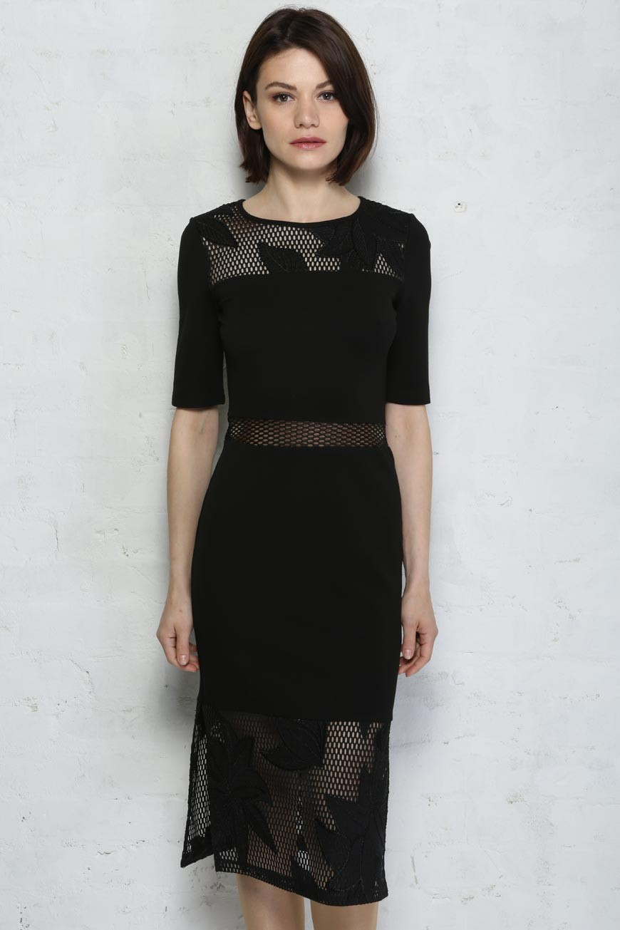 6b3bf75803e French Connection Floral Cage Dress - Black Pencil Skirt Dress