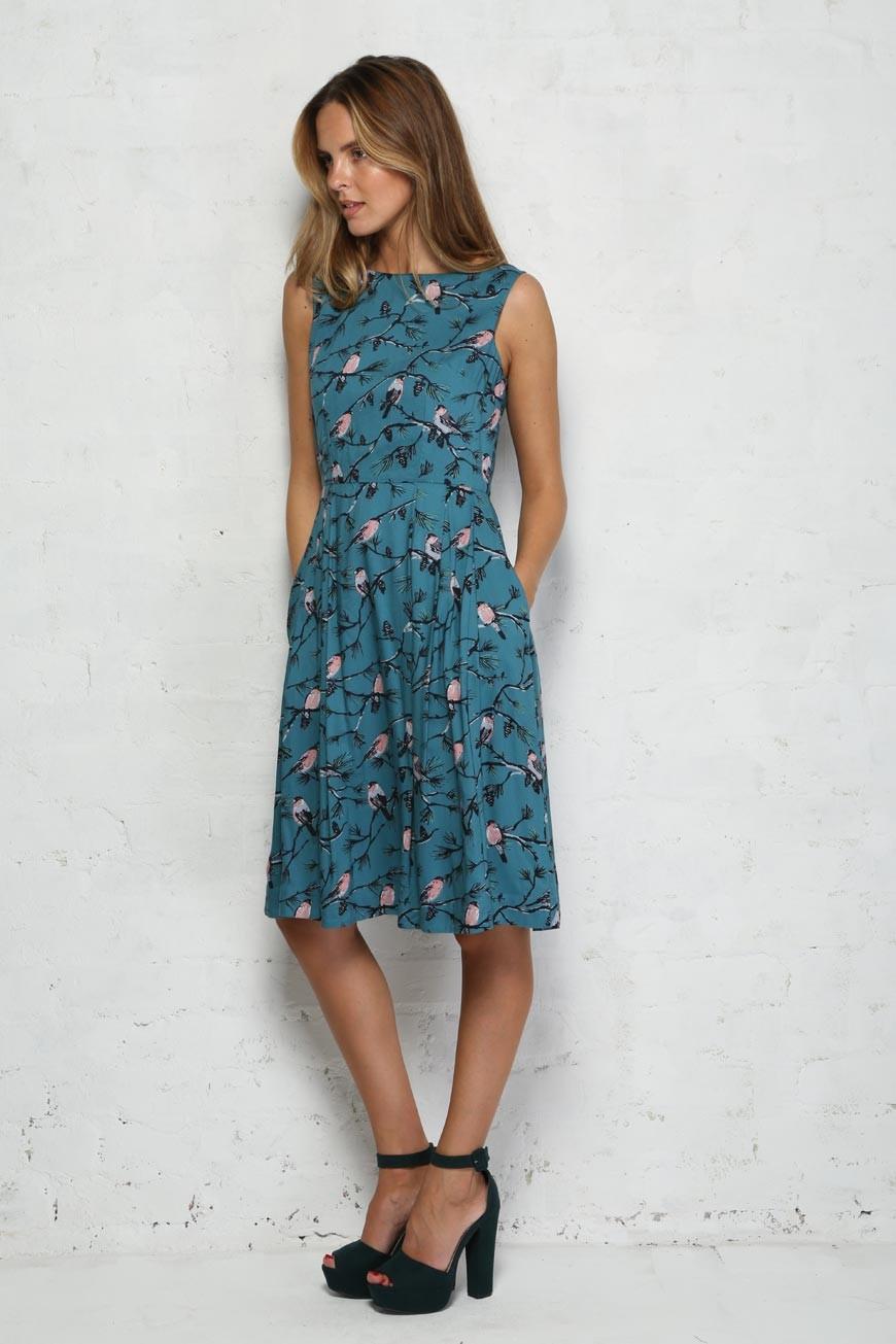 Bird Print Prom Dress Blue 1950s Stye Dress