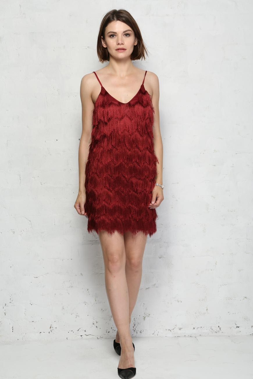 Red Fringed Flapper Dress 1920s Style Tassel Dress