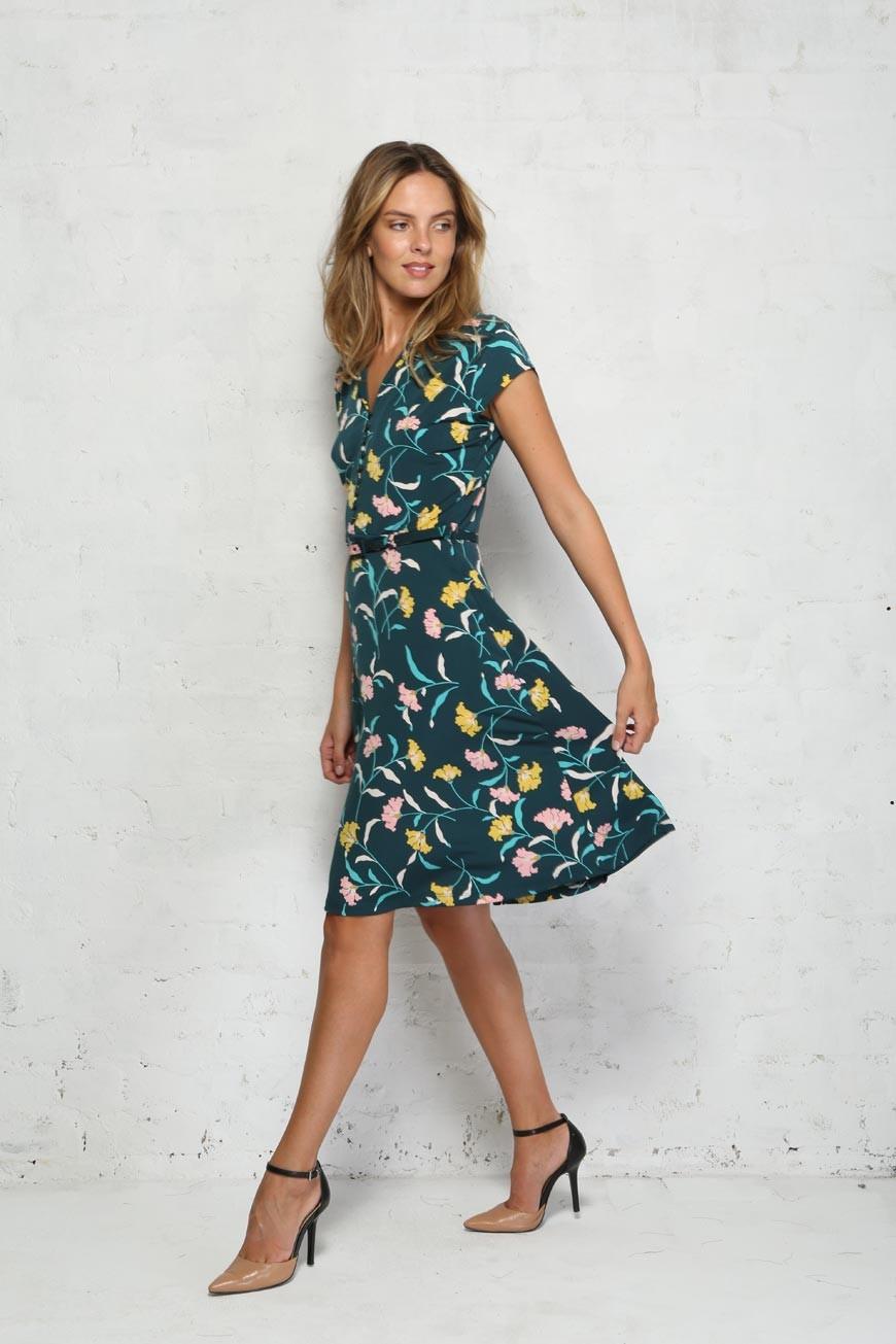 Green Floral Tea Dress – Emmy Dress Wisdom