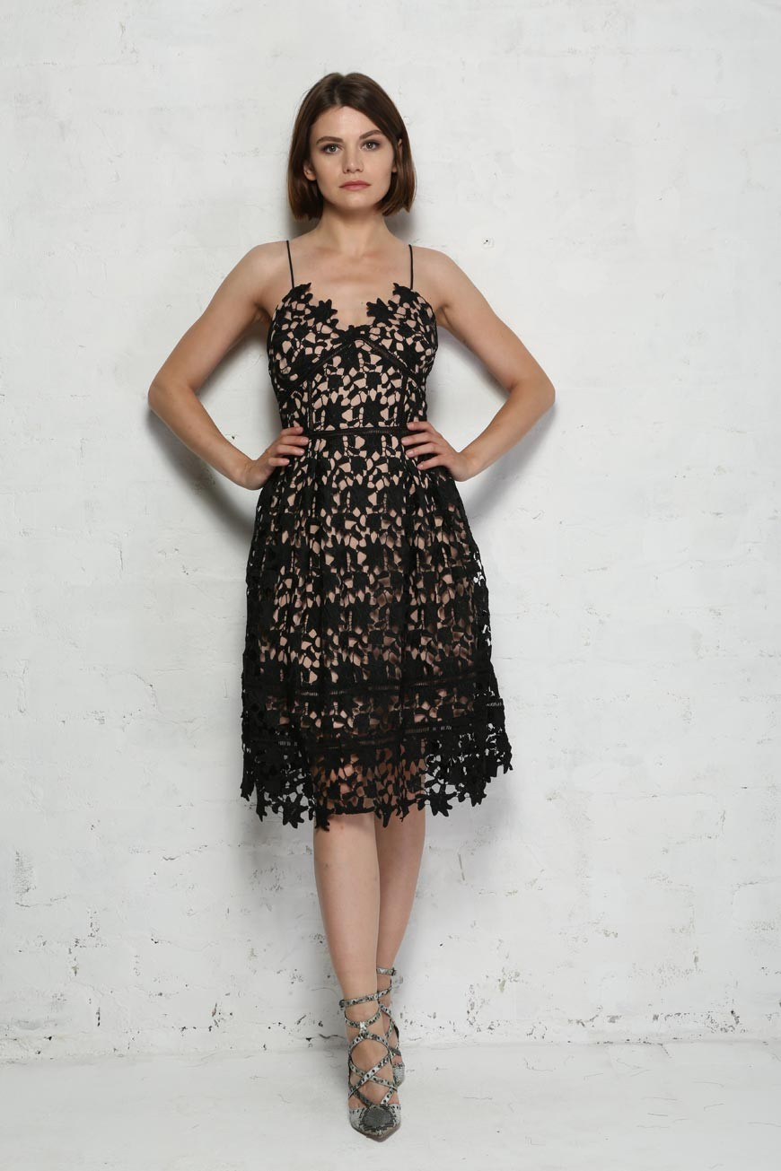 Black Floral Prom Dress Laser Cut Out Dress