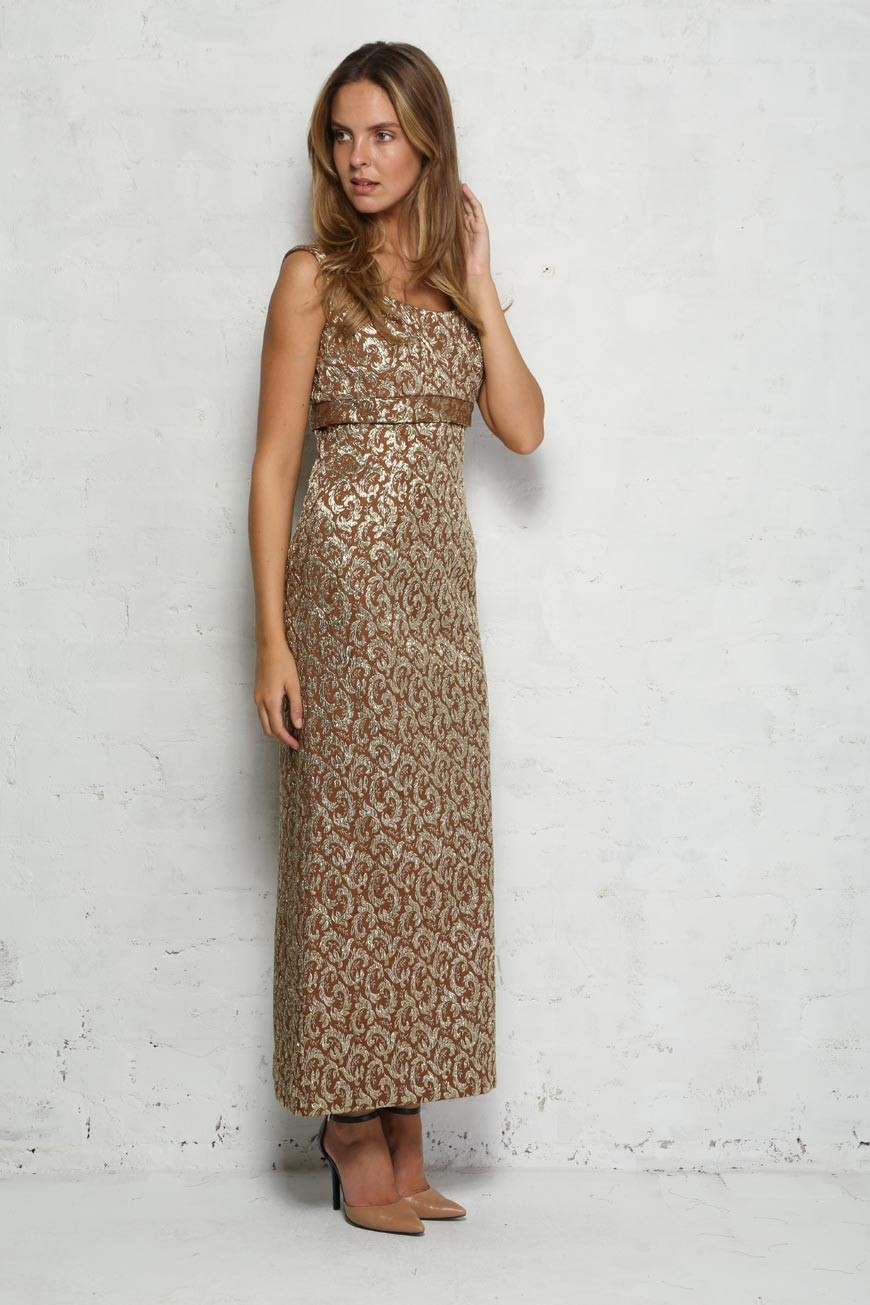 f94f74c73a46e Gold Brocade Maxi Dress - Vintage Floral Evening Gown