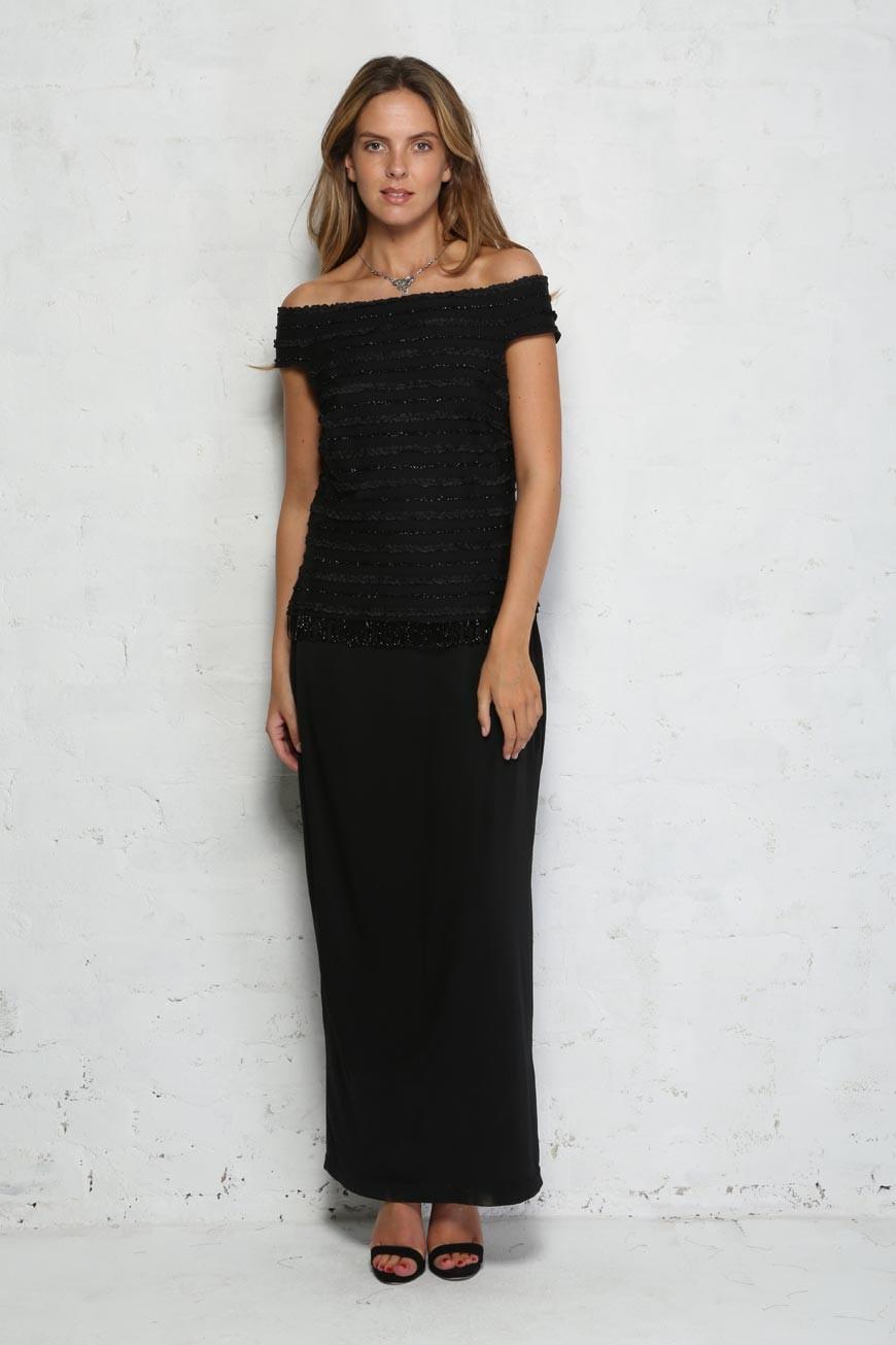 Vintage Off The Shoulder Dress - 1970s Black Maxi Dress