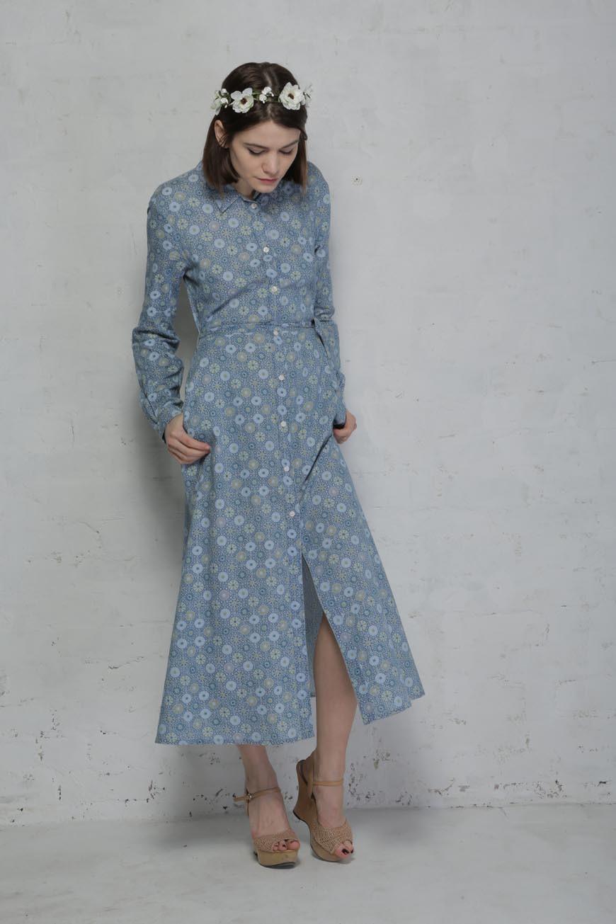 10ba0ab40a7 French Connection Blue Floral Shirt Dress - 1970s Maxi Dress