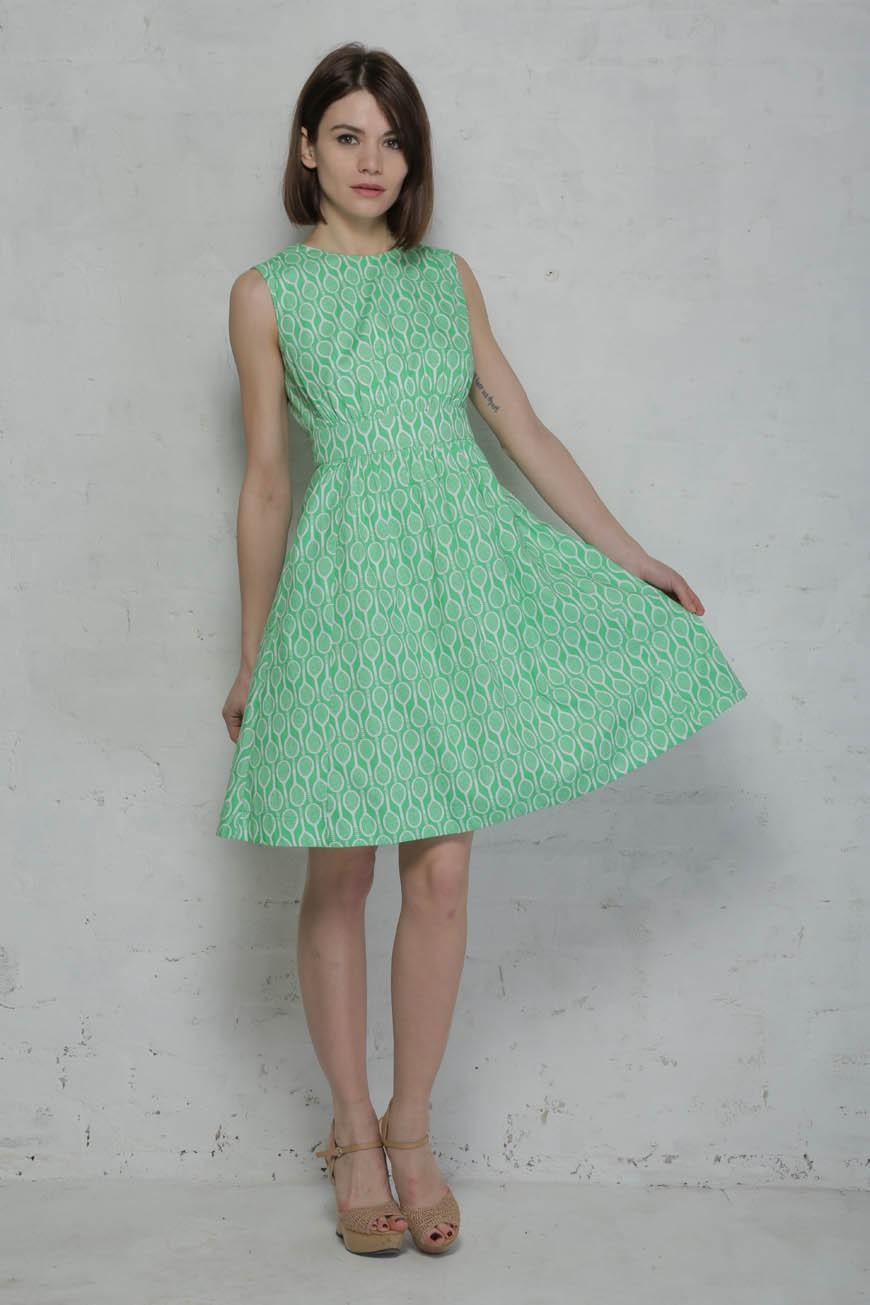 Tennis Print Prom Dress - Green 1950s Dress
