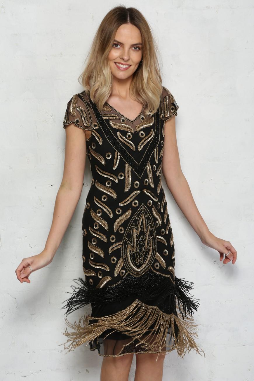 Black Tassel Dress Black Beaded Party Dress