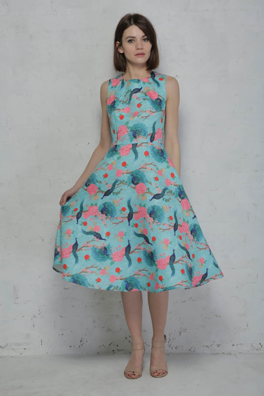 Peacock Prom Dress - Blue Bird Print Dress