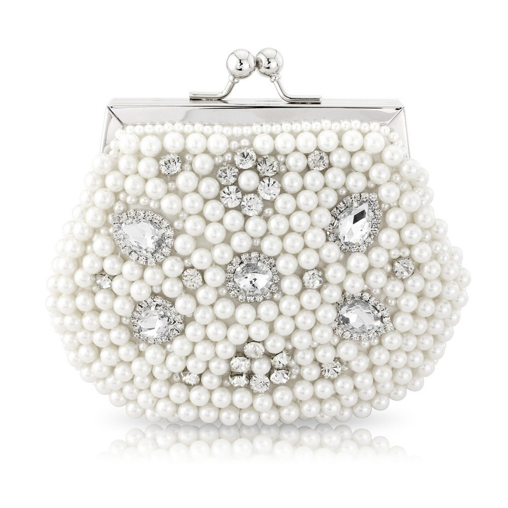 White Pearl Clutch Vintage Bridal Bag