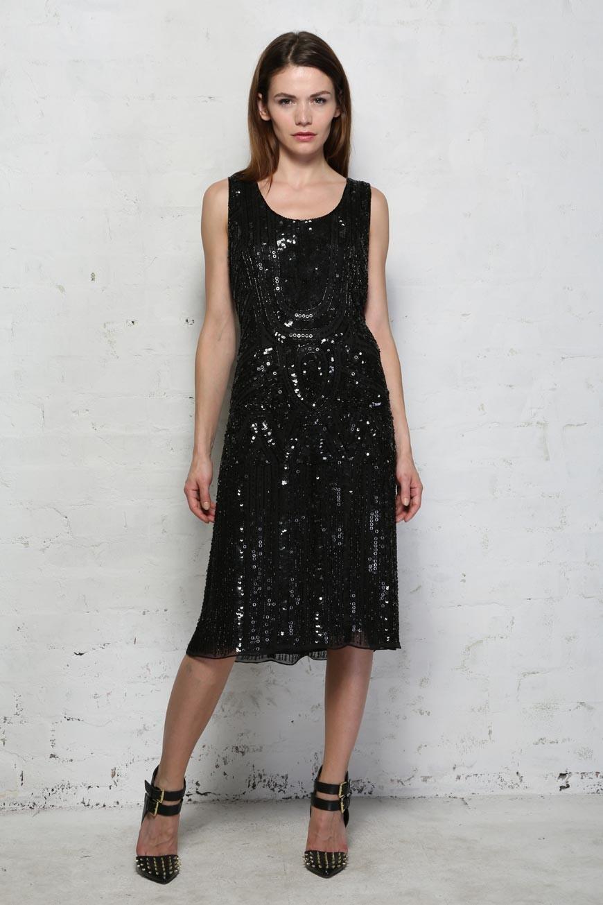 Black Sequin Flapper Dress Below The Knee Beaded Dress