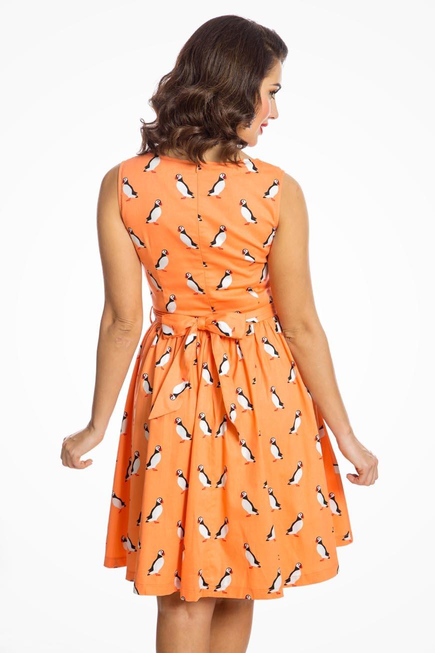 Puffin Print Swing Dress Orange Prom Dress