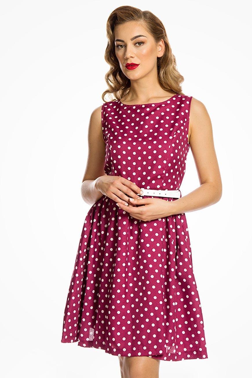 Raspberry Polka Dot Prom Red Spotty Swing Dress