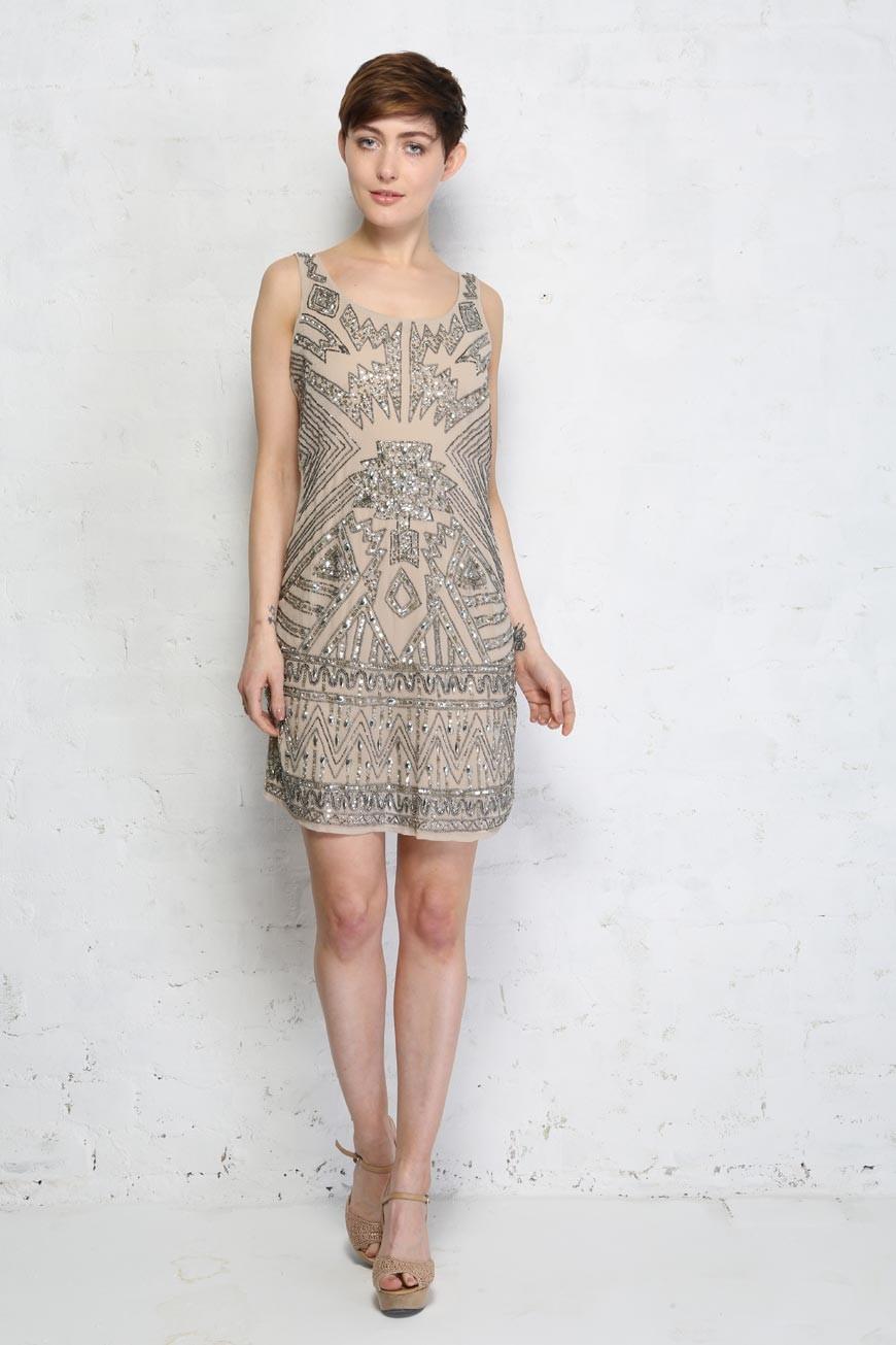 Aztec Beaded Flapper Dress