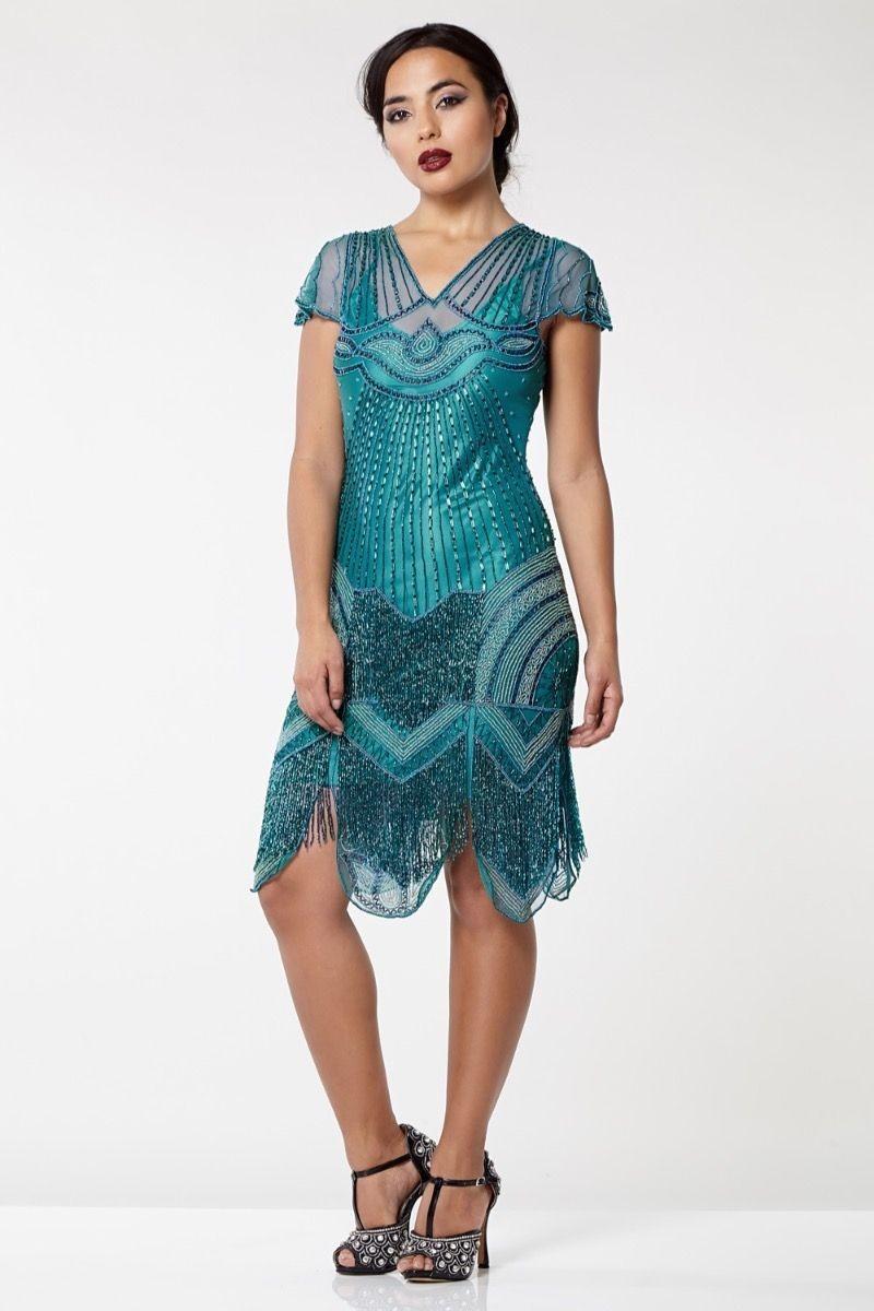 b4125934162 Teal Flapper Dress - Green Beaded Dress