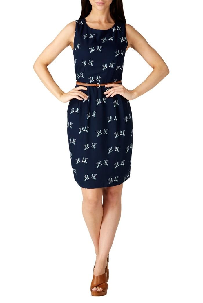 Sugarhill Boutique Justie Graphic Bird Dress Blue Bird