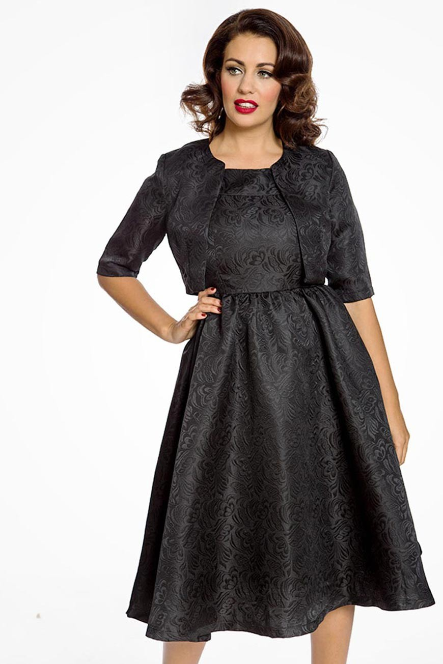 Black Swing Dress And Jacket Set Jacquard Print Dress
