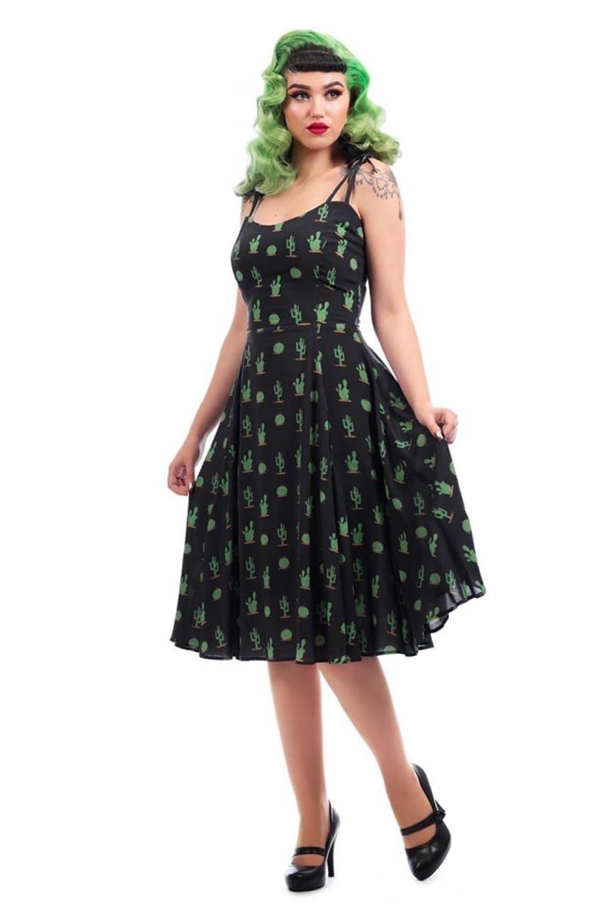 5de09fbeea2e Cactus Print Dress - Rockabilly Printed Dress