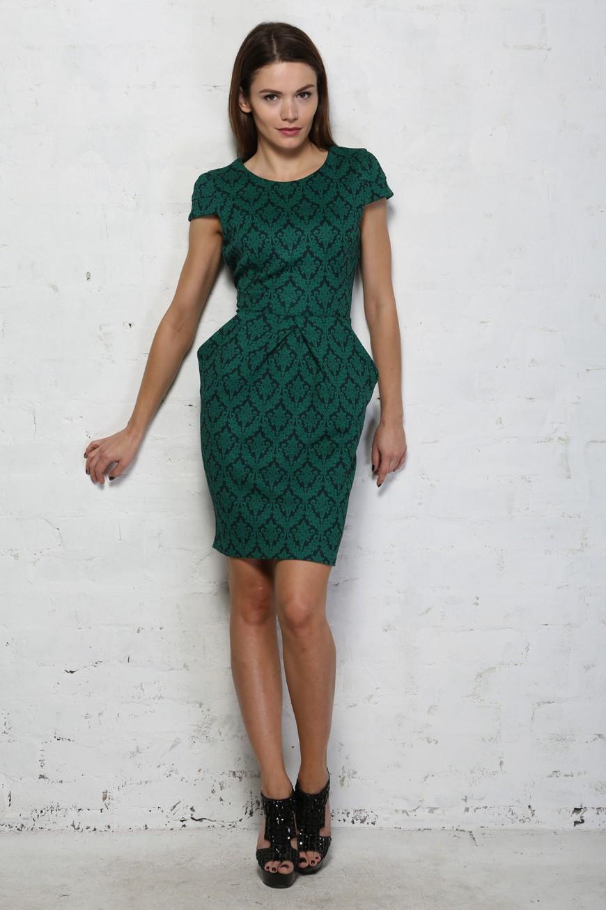 Darling Violetta Dress Floral Green Wiggle Dress 1940s