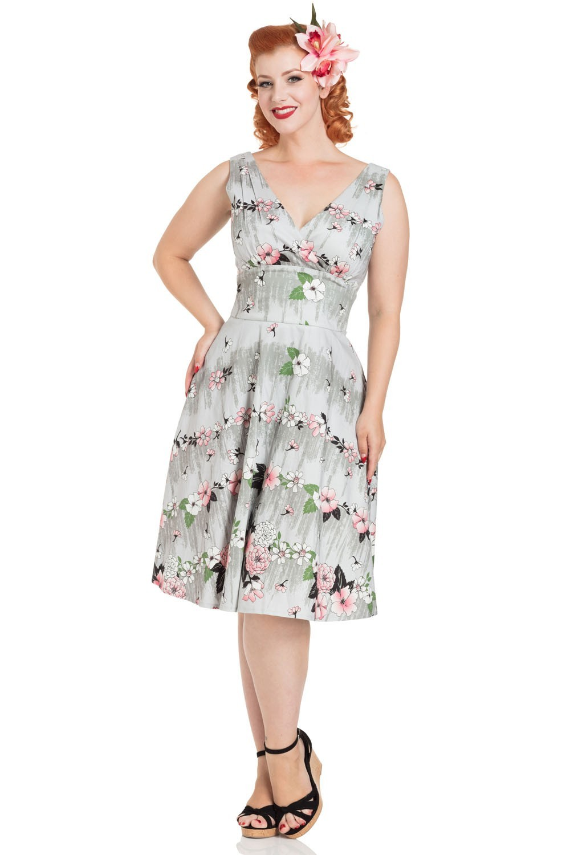 Grey Floral Prom Dress