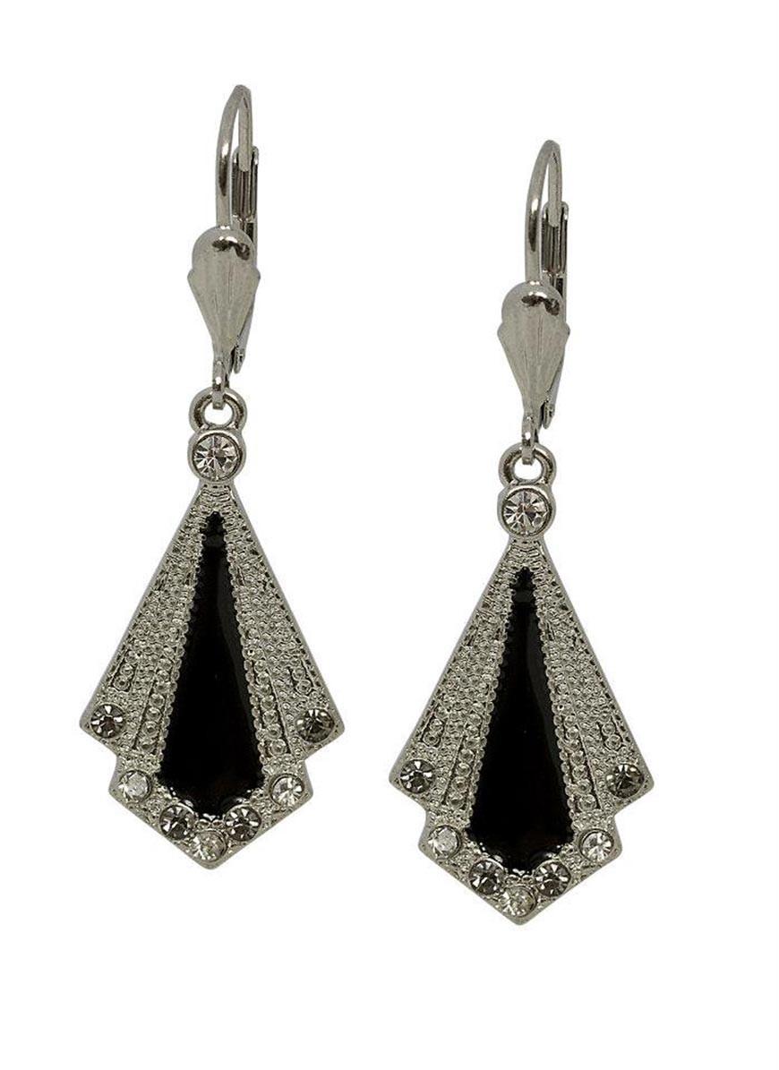 Art Deco Enamel Earrings Fan Earrings