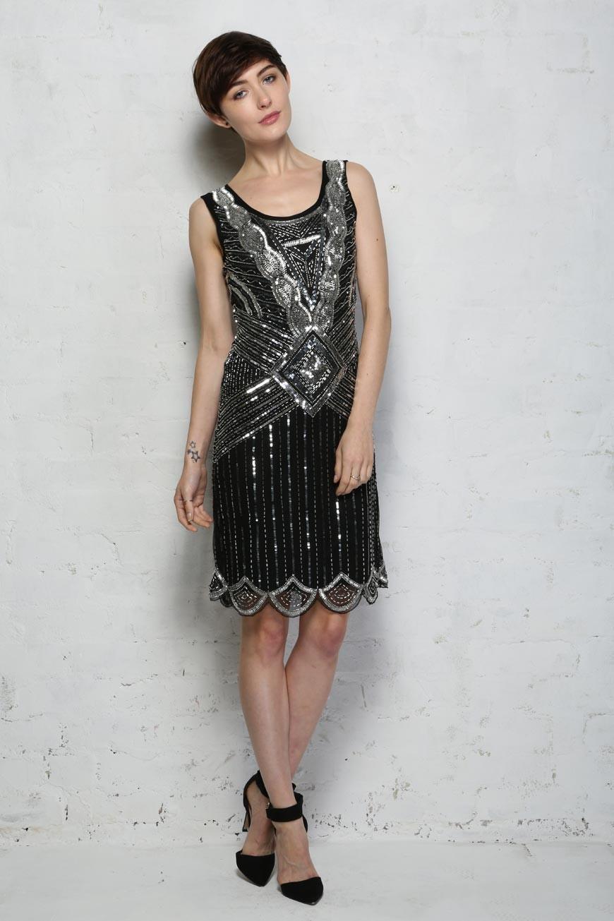 1920s Black Flapper Dress Art Deco Dress