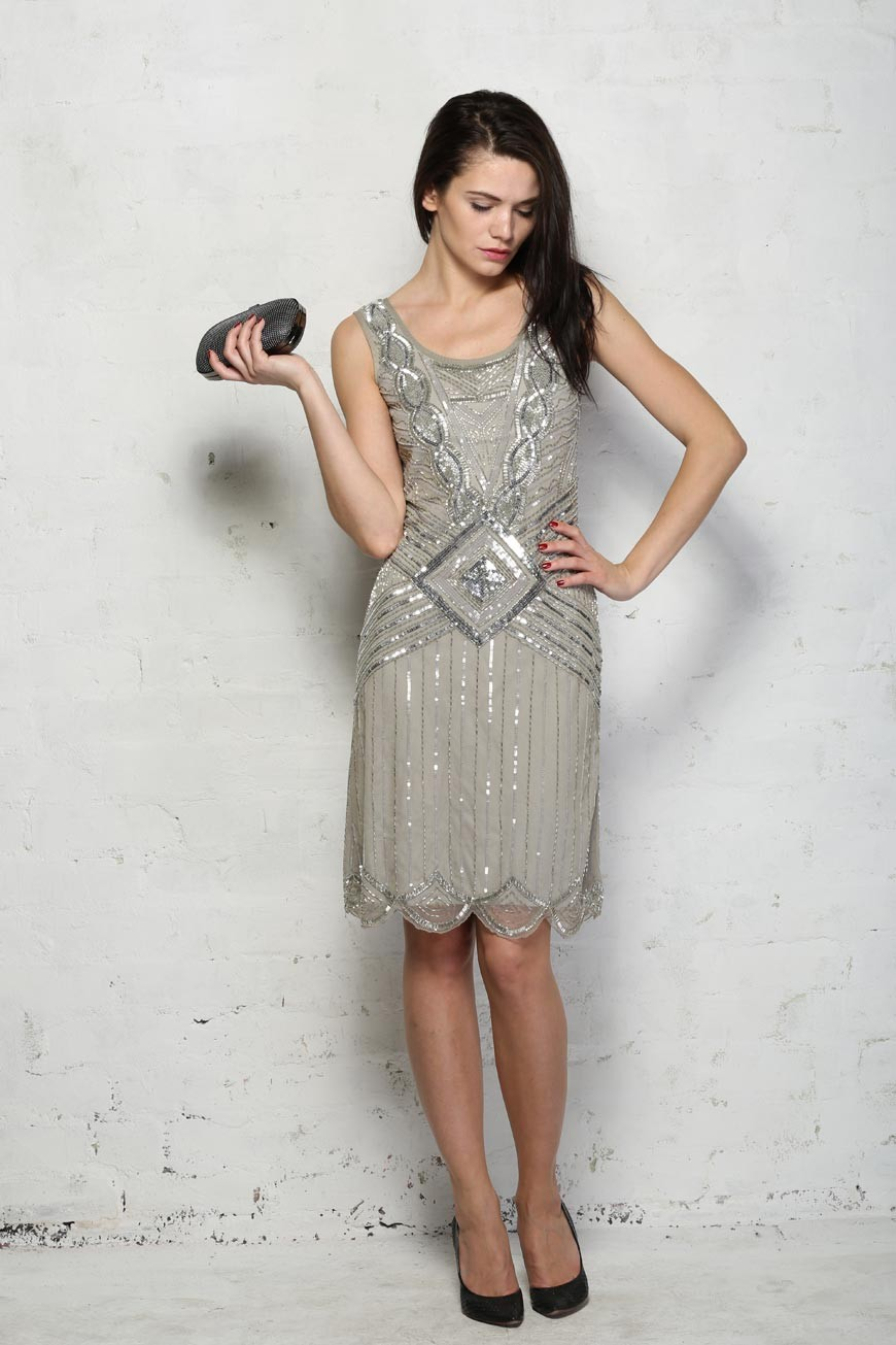 Frock & Frill Grey 20s Style Dress - Frock & Frill Athena Dress