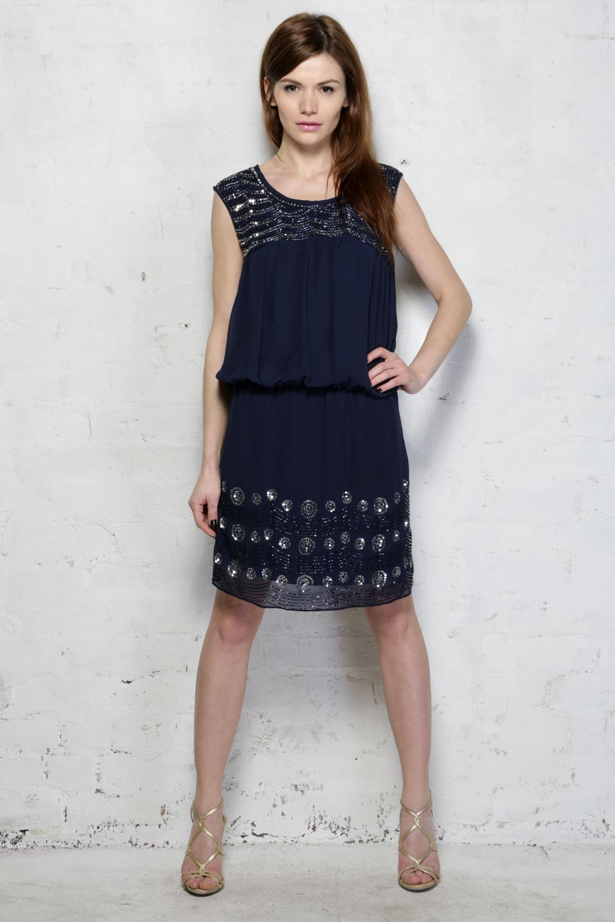 Blue Flapper Dress Navy Drop Waist Dress