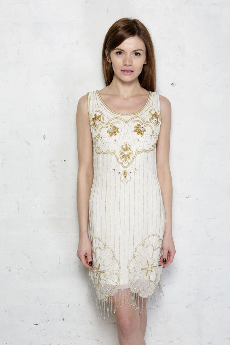 Cream and Gold Flapper Dress - White Gatsby Dress eac4be1a3