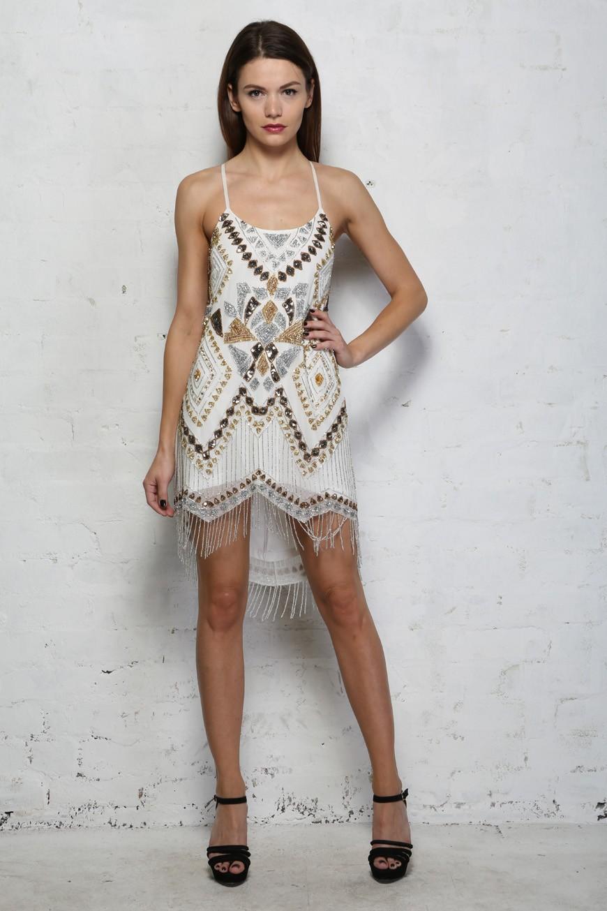 Metallic Flapper Dress White And Gold Dress