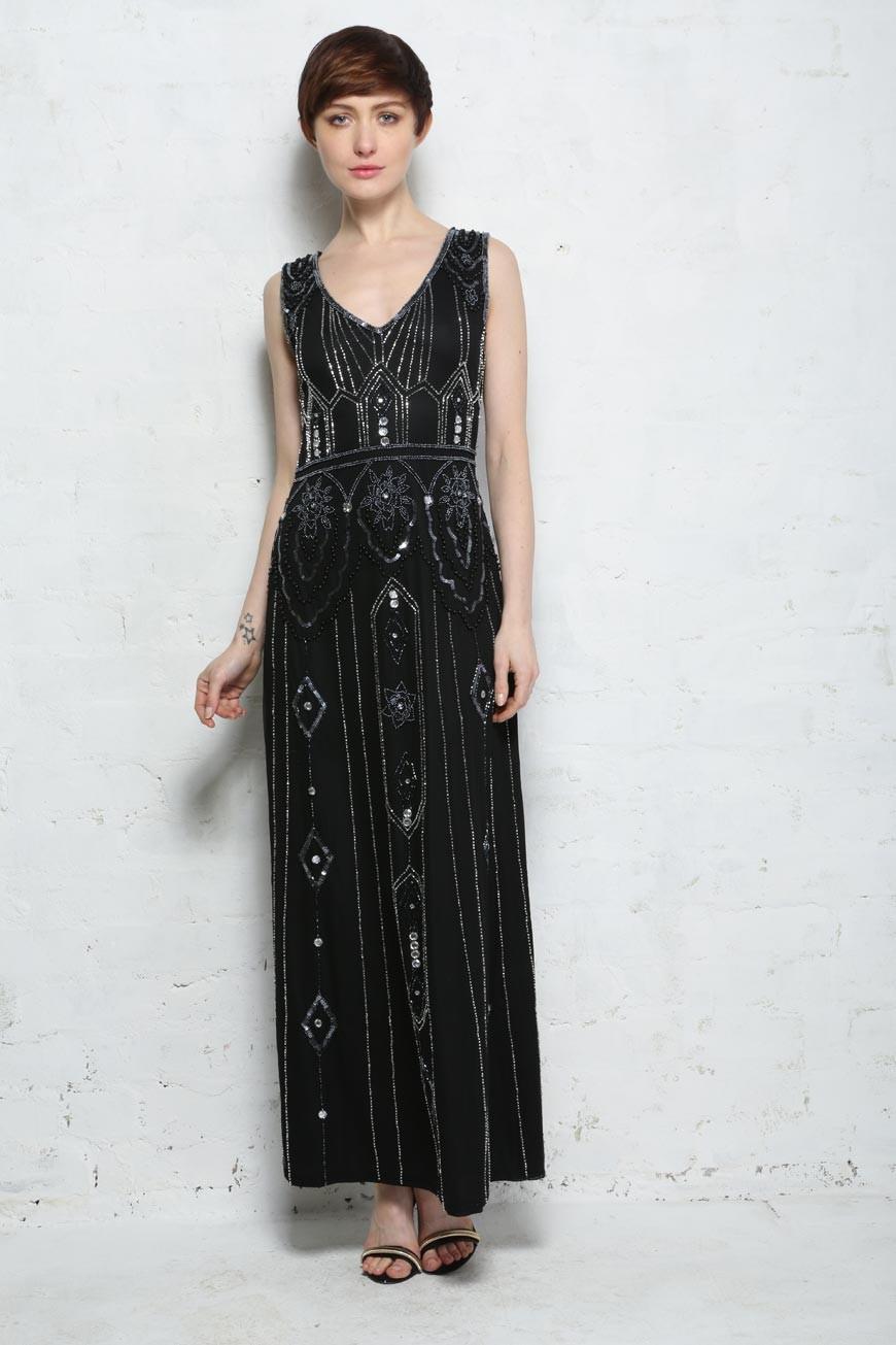 Art Deco Maxi Dress Long 1920s Dress