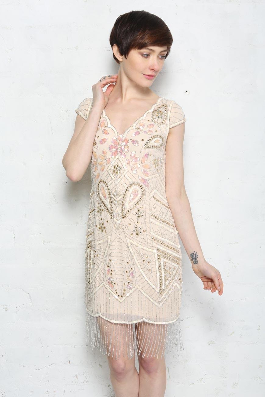 Pink Beaded Flapper Dress Fringed Dresses