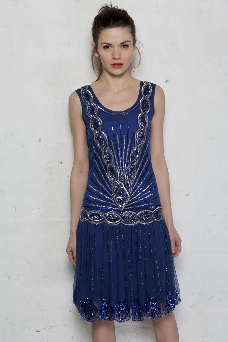 Frock And Frill Zelda Flapper Dress Blue Bright Beaded Dress