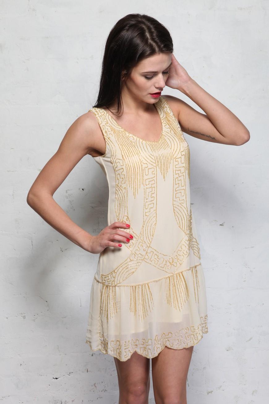 Cream Art Deco Flapper Dress