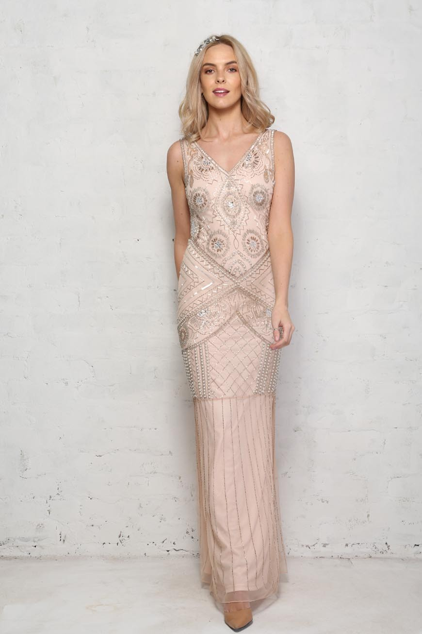 Blush Pink Beaded Maxi Dress 1920s Full Length Dress