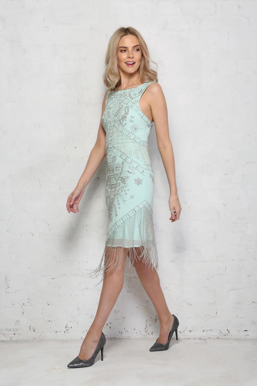 f66501717d9 Green Beaded Flapper Dress - Embellished Mint Dress