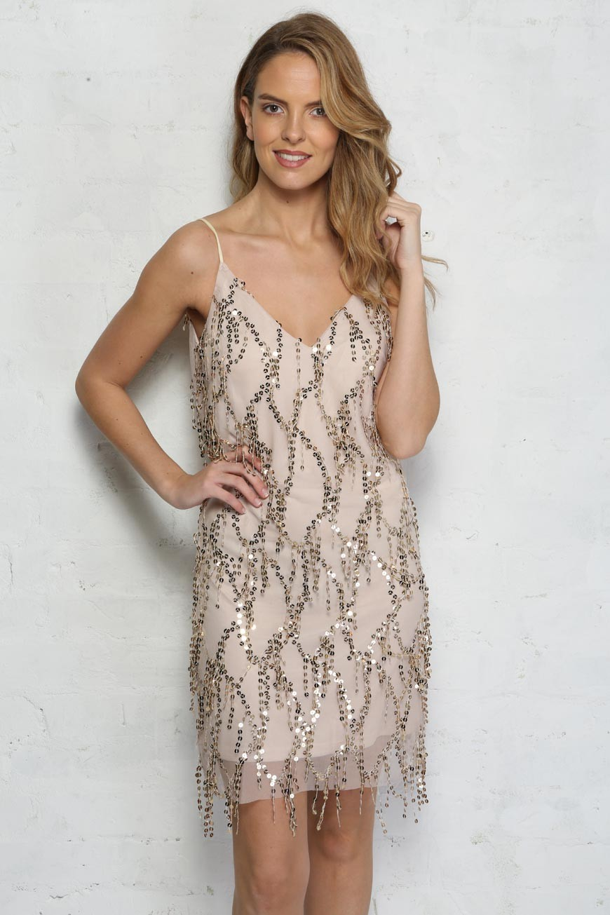 Gold Sequin Tassel Dress