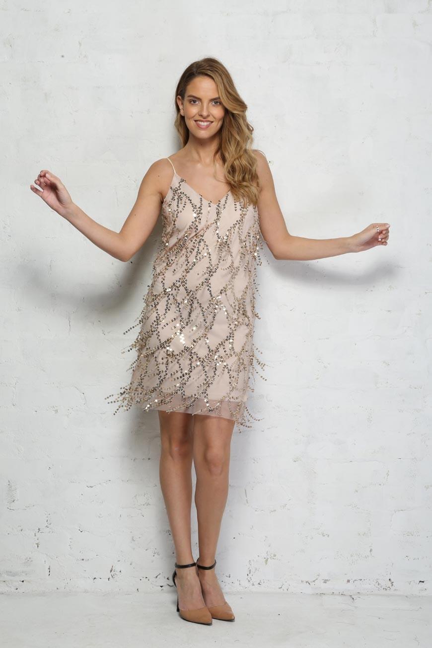 Gold Sequin Tassel Dress Flapper Style Party Dress