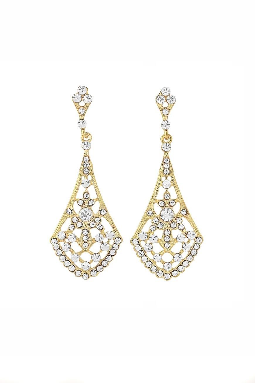 gold gatsby fan earrings