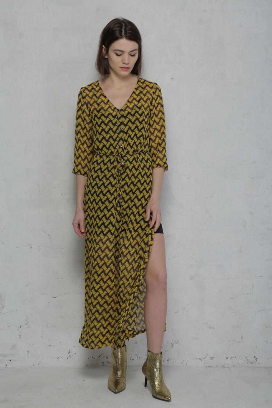 Yellow Print Shirt Dress Boho Dress