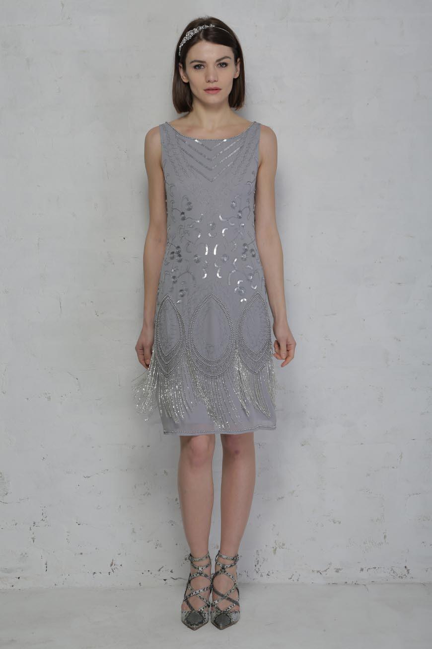 Grey Fringed Flapper Dress Beaded Tassel Dress